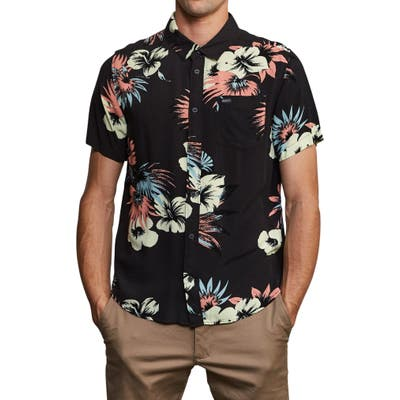 Rvca Romeo Slim Fit Floral Print Shirt, Black