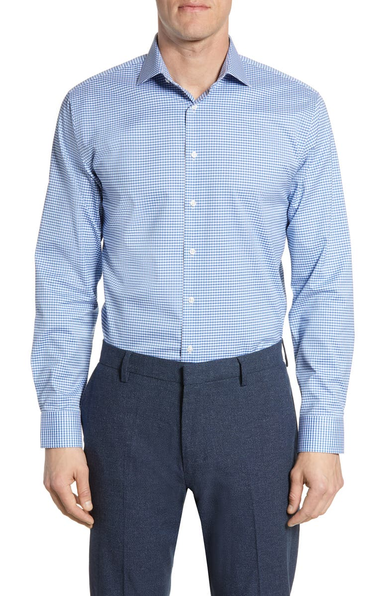 NORDSTROM MEN'S SHOP Trim Fit Stretch Non-Iron Check Dress Shirt, Main, color, BLUE HERITAGE