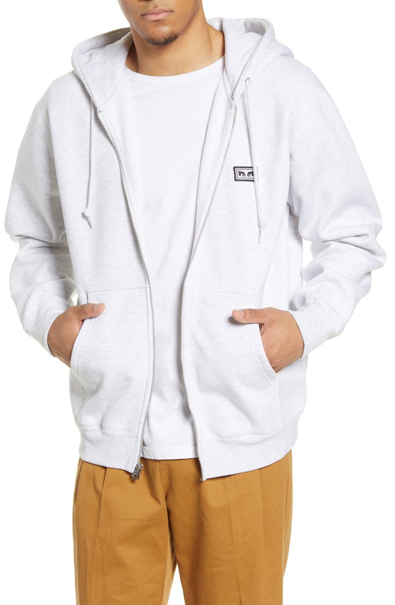 OBEY All Eyez II Zip Hoodie, Main, color, GREY