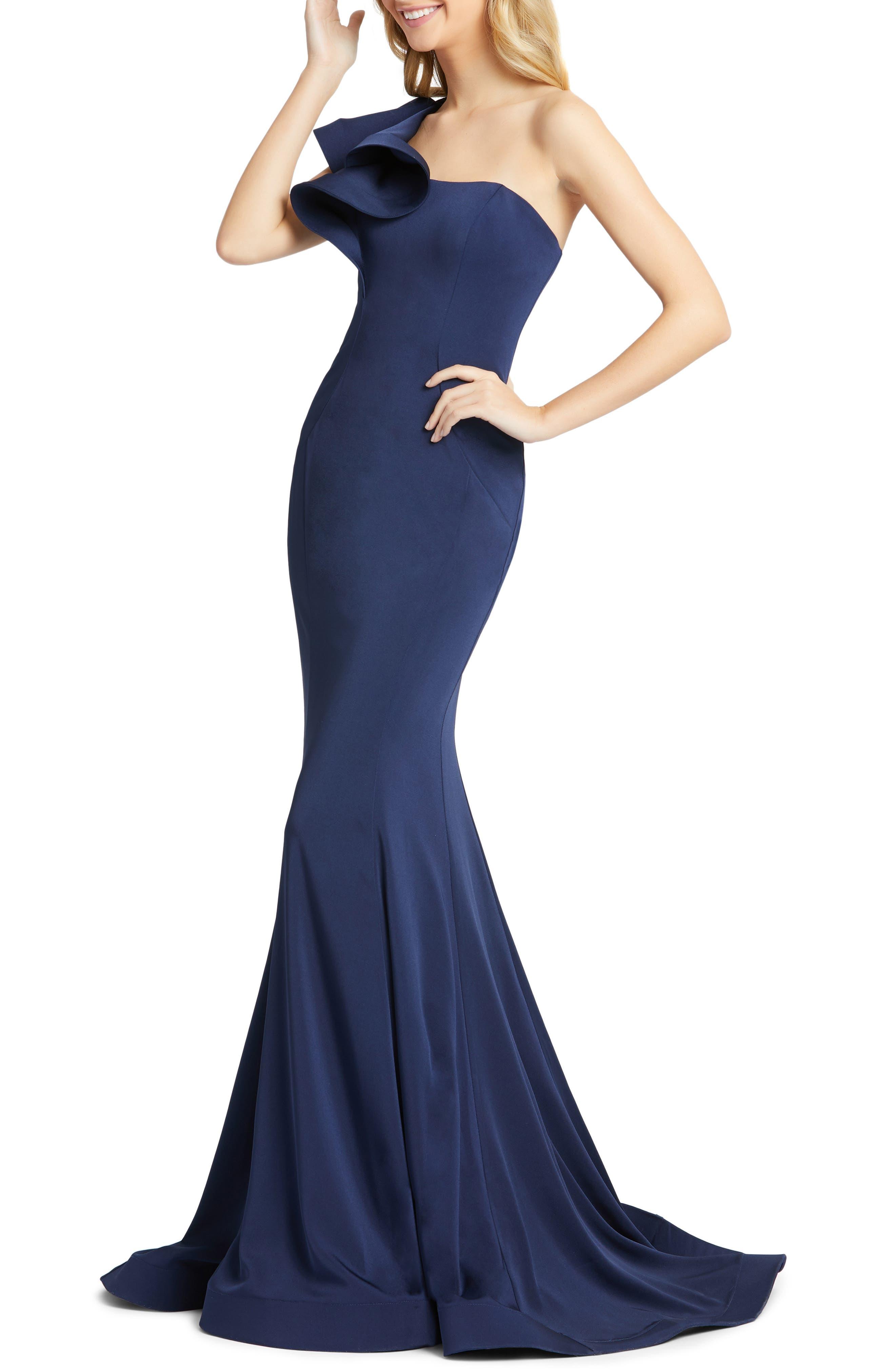 Women's Leena For MAC Duggal Ruffle One-Shoulder Mermaid Gown