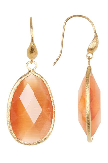 Image of Rivka Friedman 18K Gold Clad Faceted Peach Cat's Eye Drop Earrings