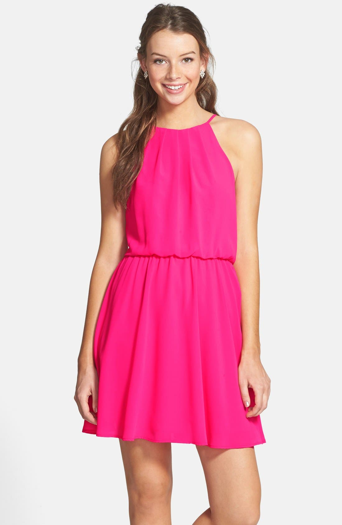 ,                             Blouson Chiffon Skater Dress,                             Alternate thumbnail 197, color,                             650