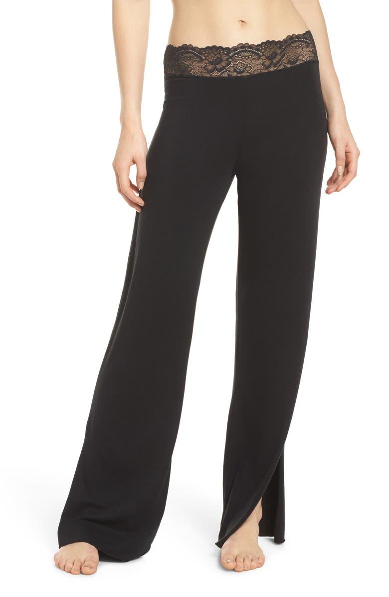SAMANTHA CHANG Lace Trim Pants, Main, color, 003