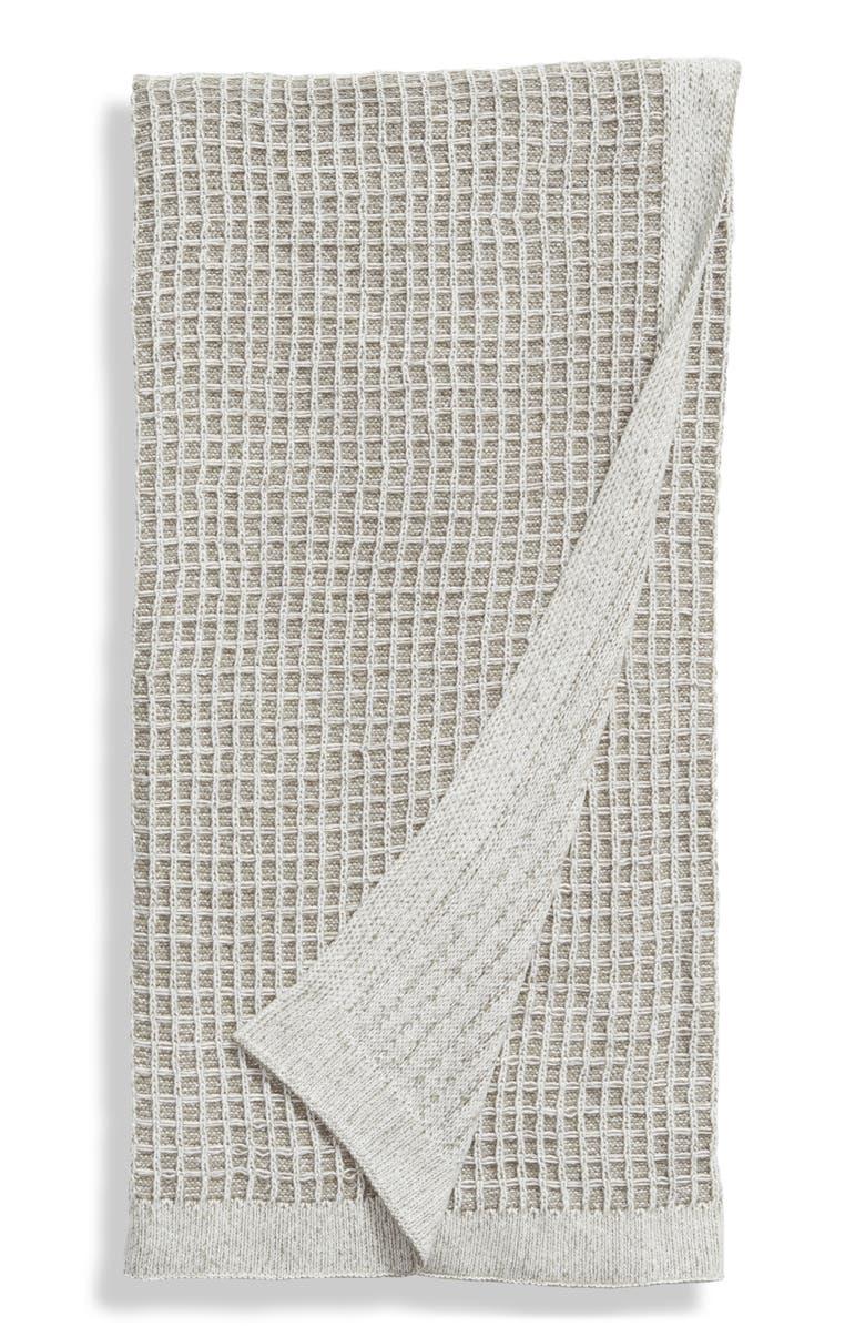 TREASURE & BOND Soft Waffle Grid Throw Blanket, Main, color, 020