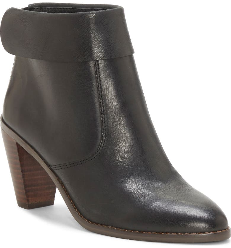 LUCKY BRAND Nycott Leather Bootie, Main, color, BLACK LEATHER
