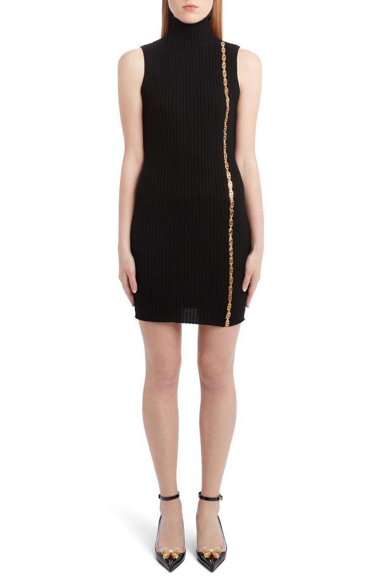 VERSACE Chain Detail Wool Blend Sweater Dress, Main, color, BLACK