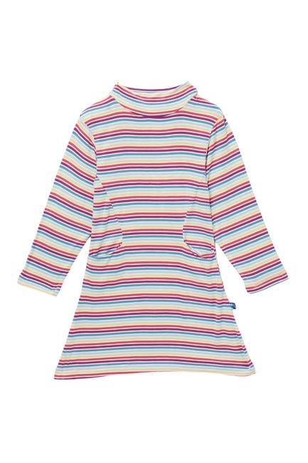 Image of KicKee Pants Stripe Print Mock Neck Dress