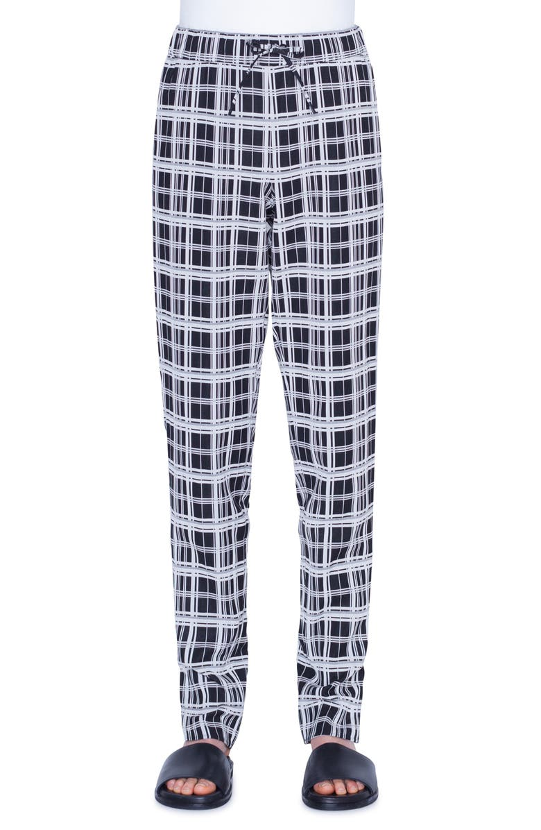 AKRIS PUNTO Mike Monochromatic Check Jacquard Pants, Main, color, BLACK/ WHITE DENIM