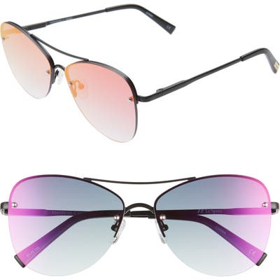 Le Specs Fortifeyed 61Mm Mirrored Aviator Sunglasses - Matte Black/ Ice Fire Mirror