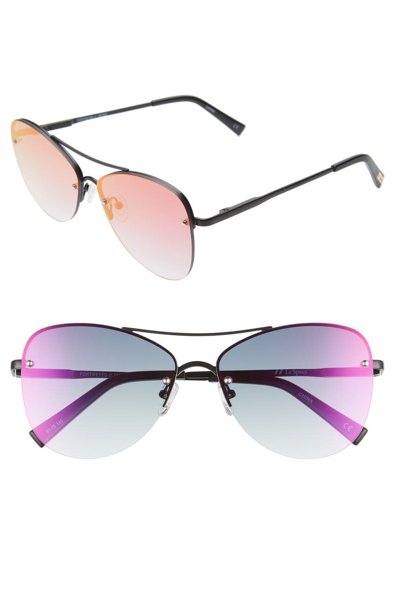 LE SPECS Fortifeyed 61mm Mirrored Aviator Sunglasses, Main, color, MATTE BLACK/ ICE FIRE MIRROR