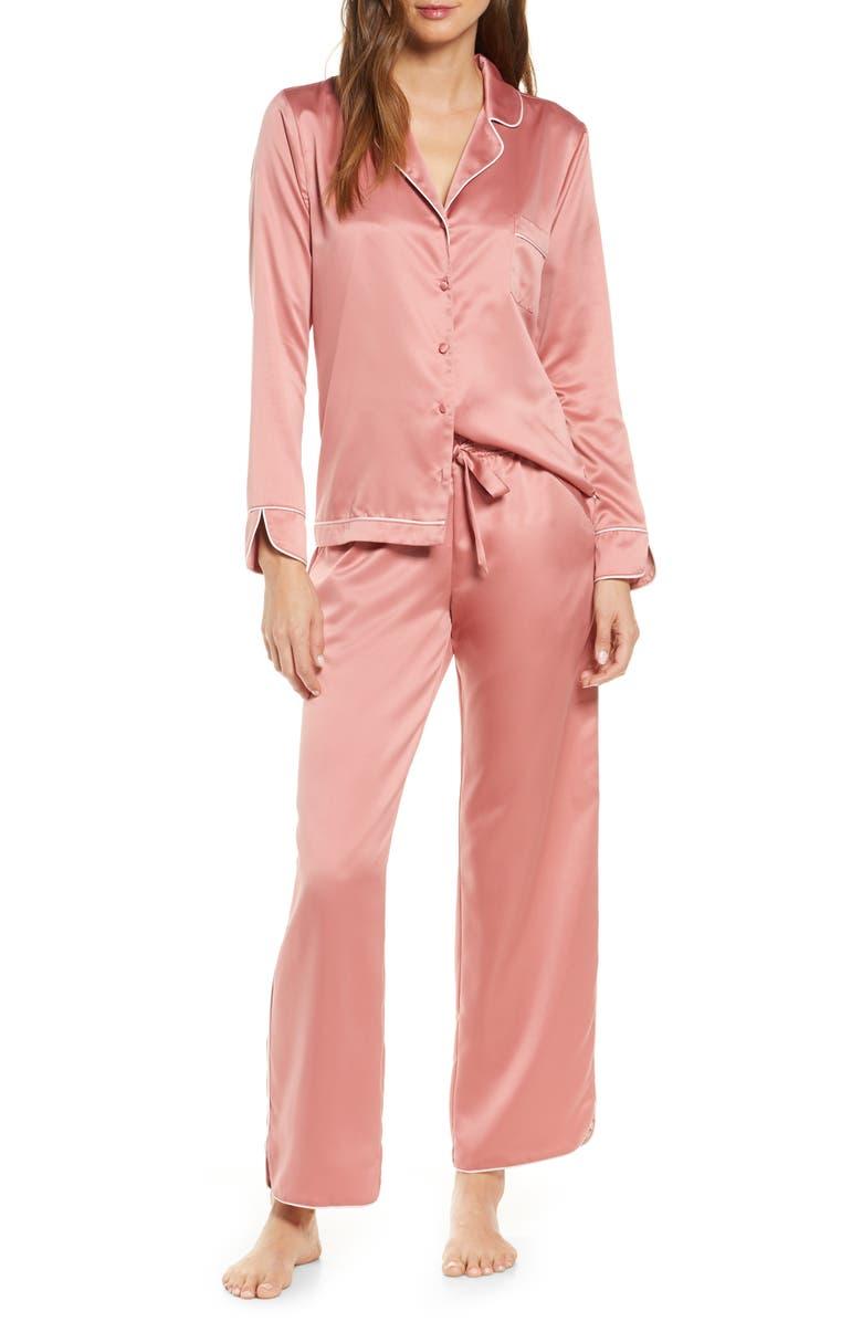 RACHEL PARCELL Satin Pajamas, Main, color, PINK COMPACT