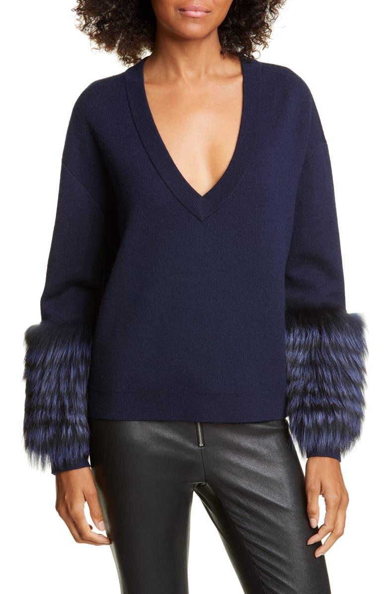 ALICE + OLIVIA Shiela Genuine Fox Fur Cuff Sweater, Main, color, SAPPHIRE