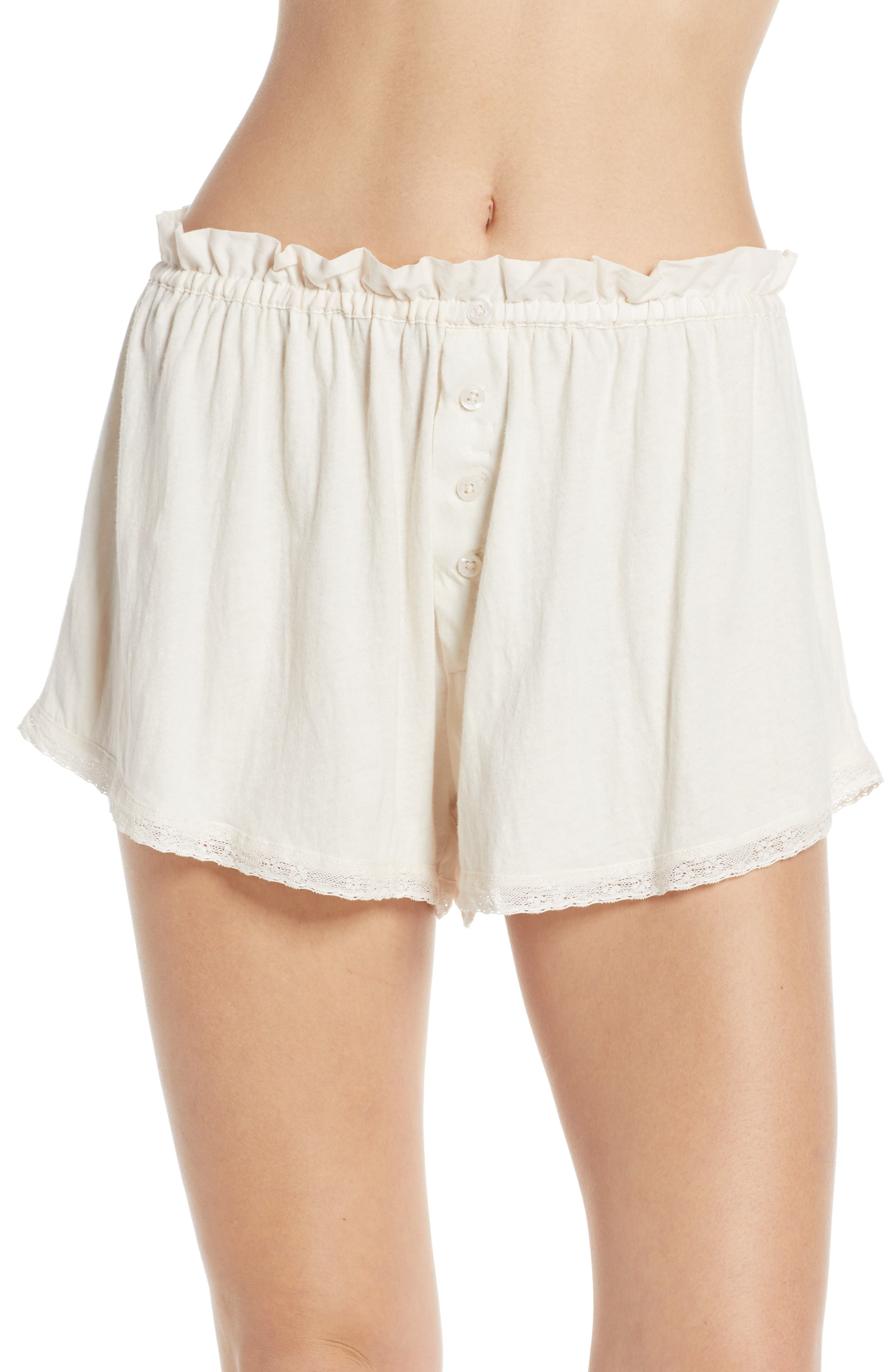 The Great. The Lace Pajama Shorts, White
