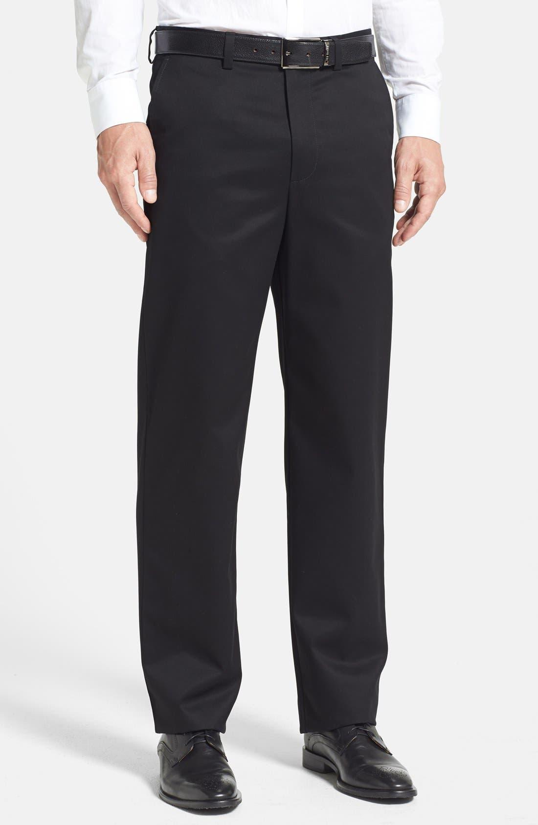 Image of NORDSTROM MEN'S SHOP 'Classic' Smartcare(TM) Relaxed Fit Flat Front Cotton Pants