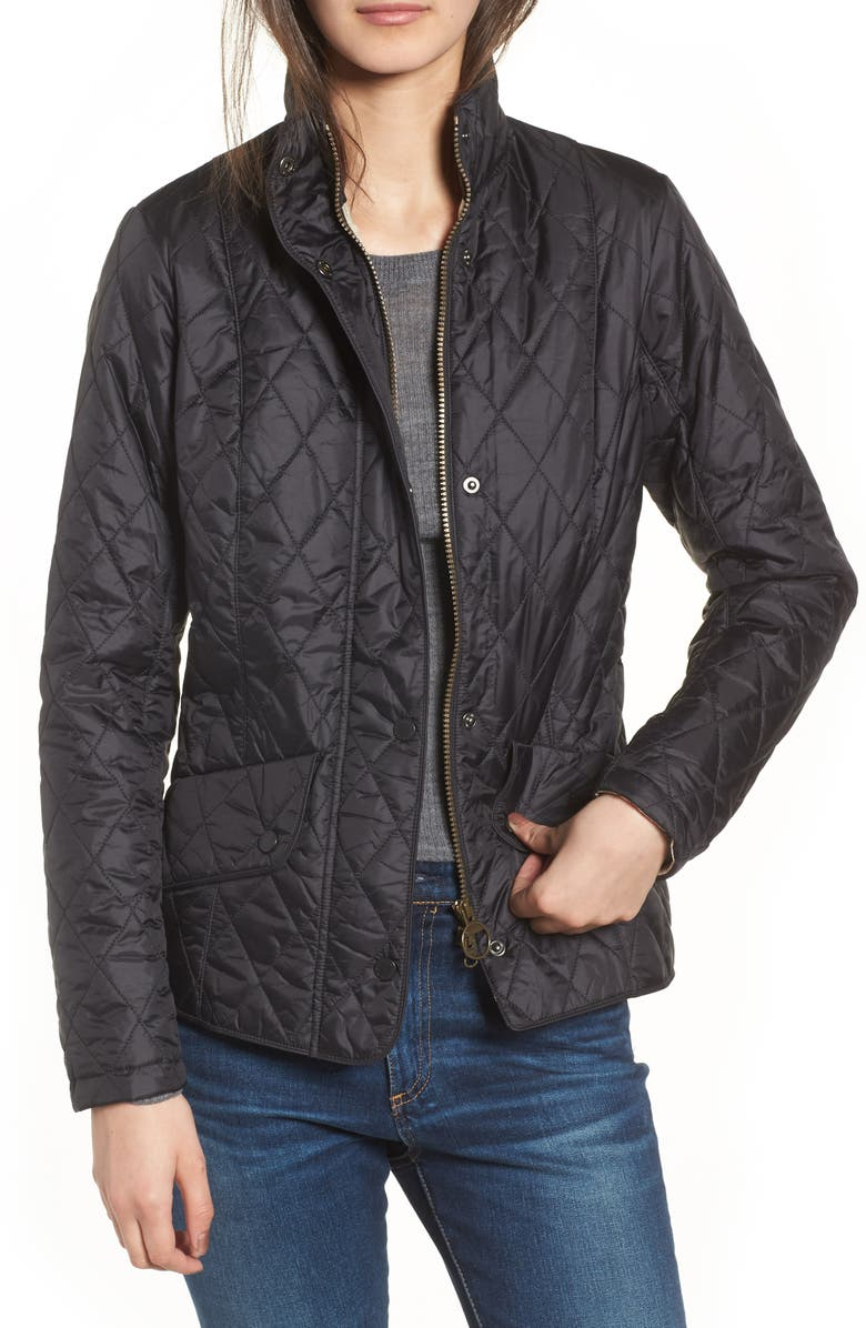 BARBOUR Flyweight Quilted Jacket, Main, color, BLACK