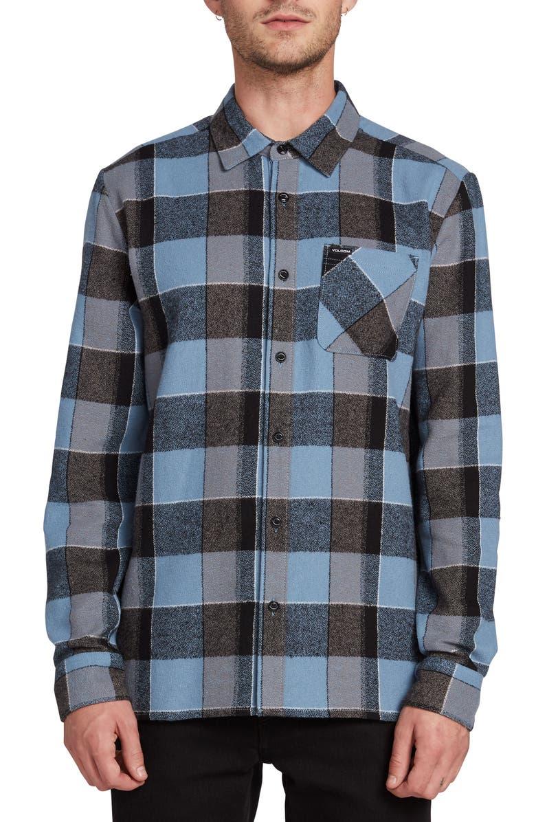 VOLCOM Neo Glitch Buffalo Plaid Button-Up Shirt, Main, color, RNE