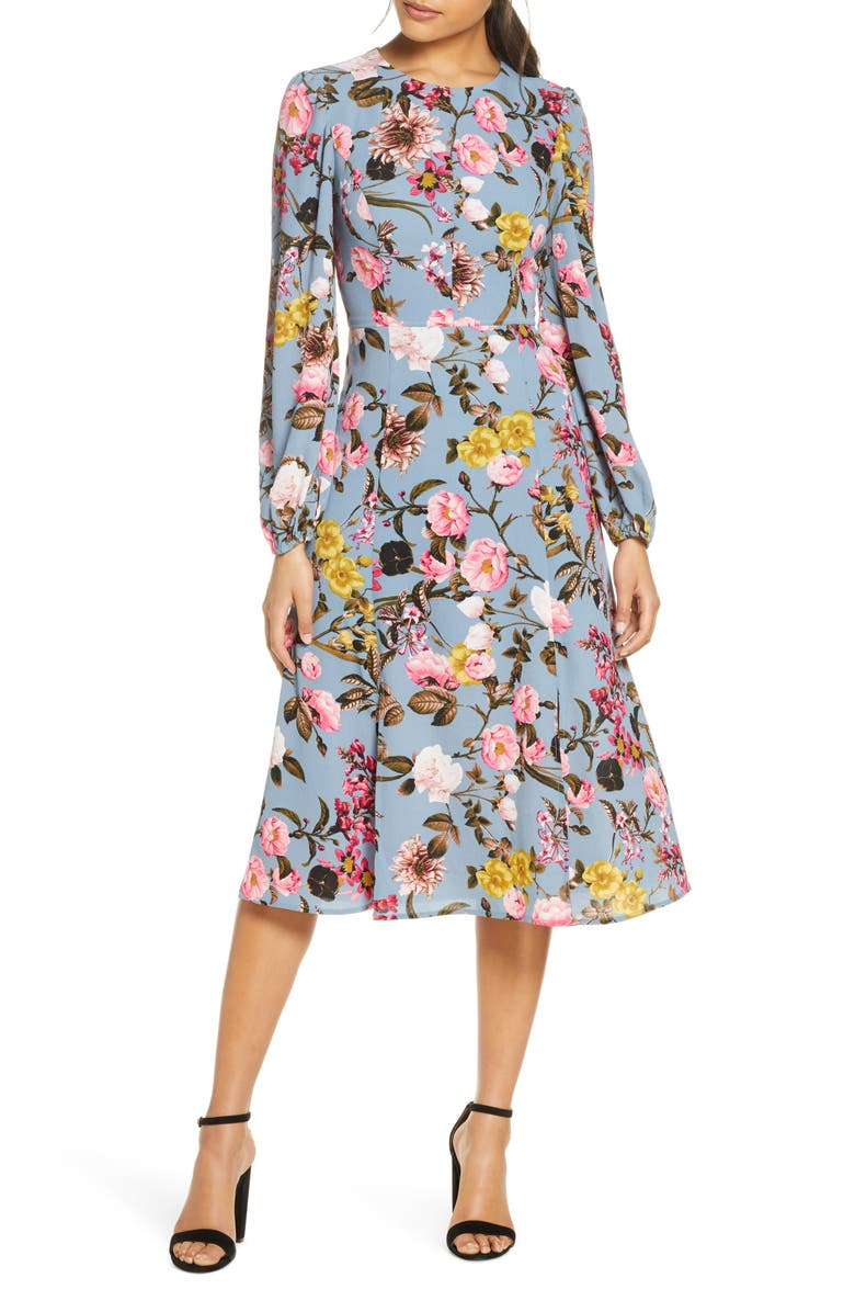 ELIZA J Floral Print Long Sleeve Crepe Midi Dress, Main, color, BLUE FLORAL