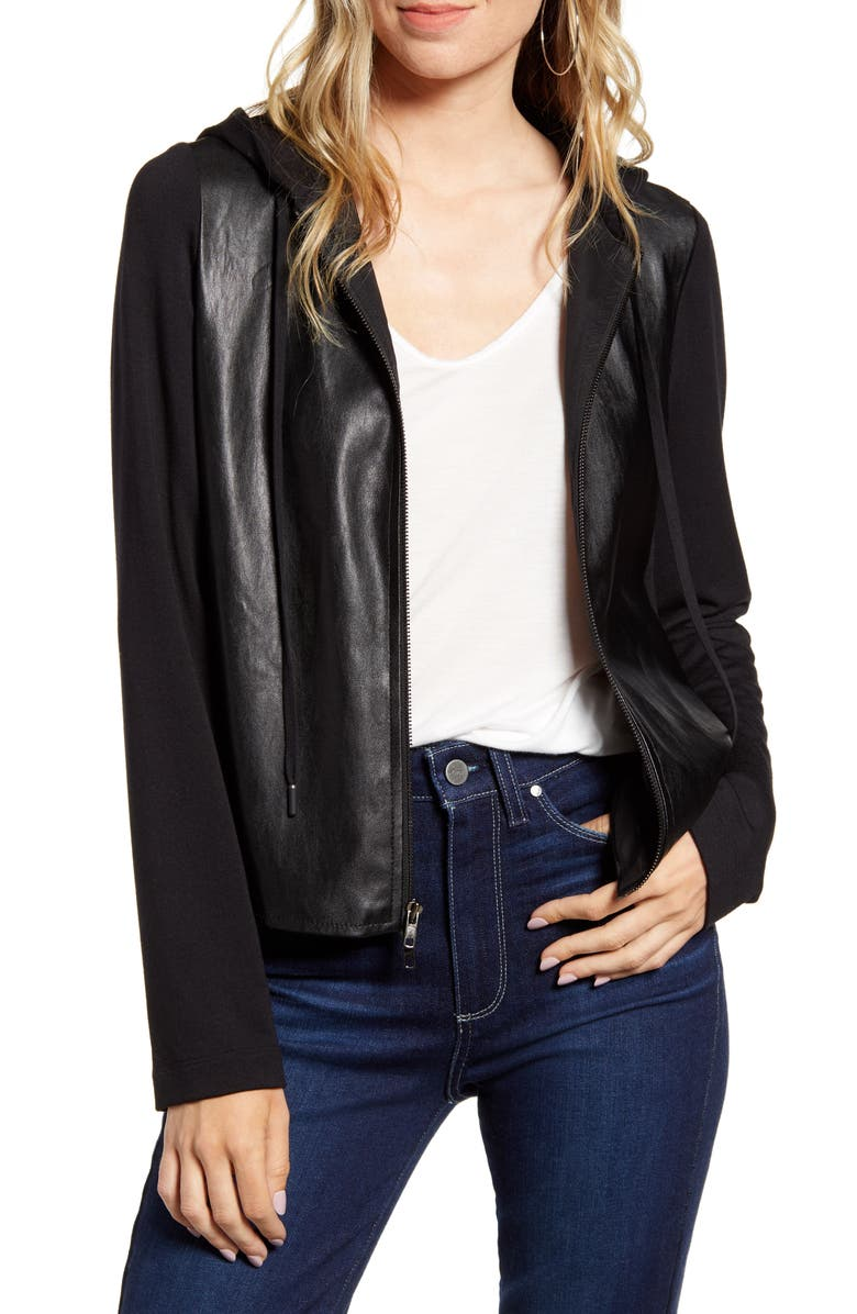BAILEY 44 Angelica Faux Leather Hooded Jacket, Main, color, BLACK