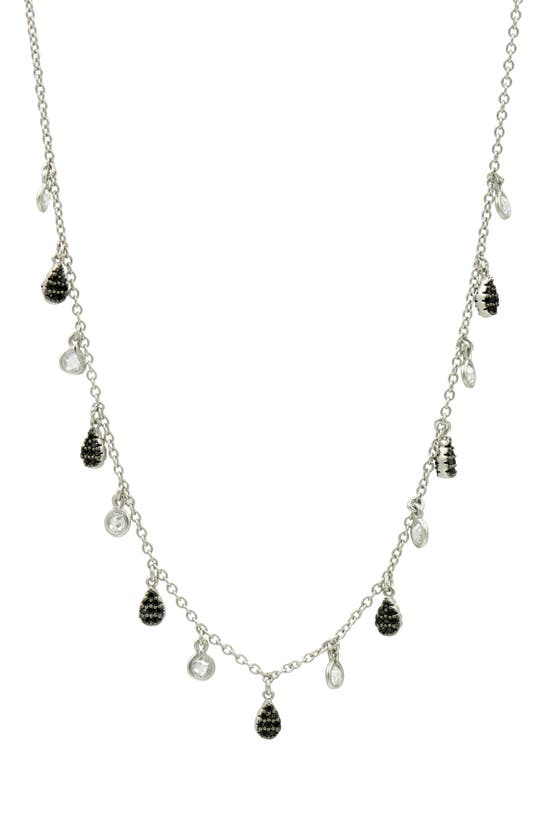 Freida Rothman Pave Charm Necklace In Silver/ Black