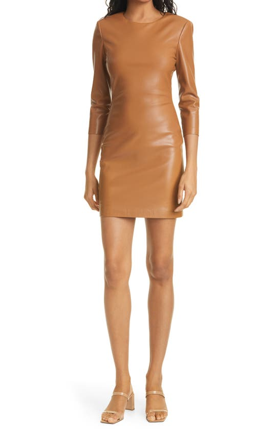 Alice And Olivia INKA LONG SLEEVE FAUX LEATHER BODY-CON DRESS