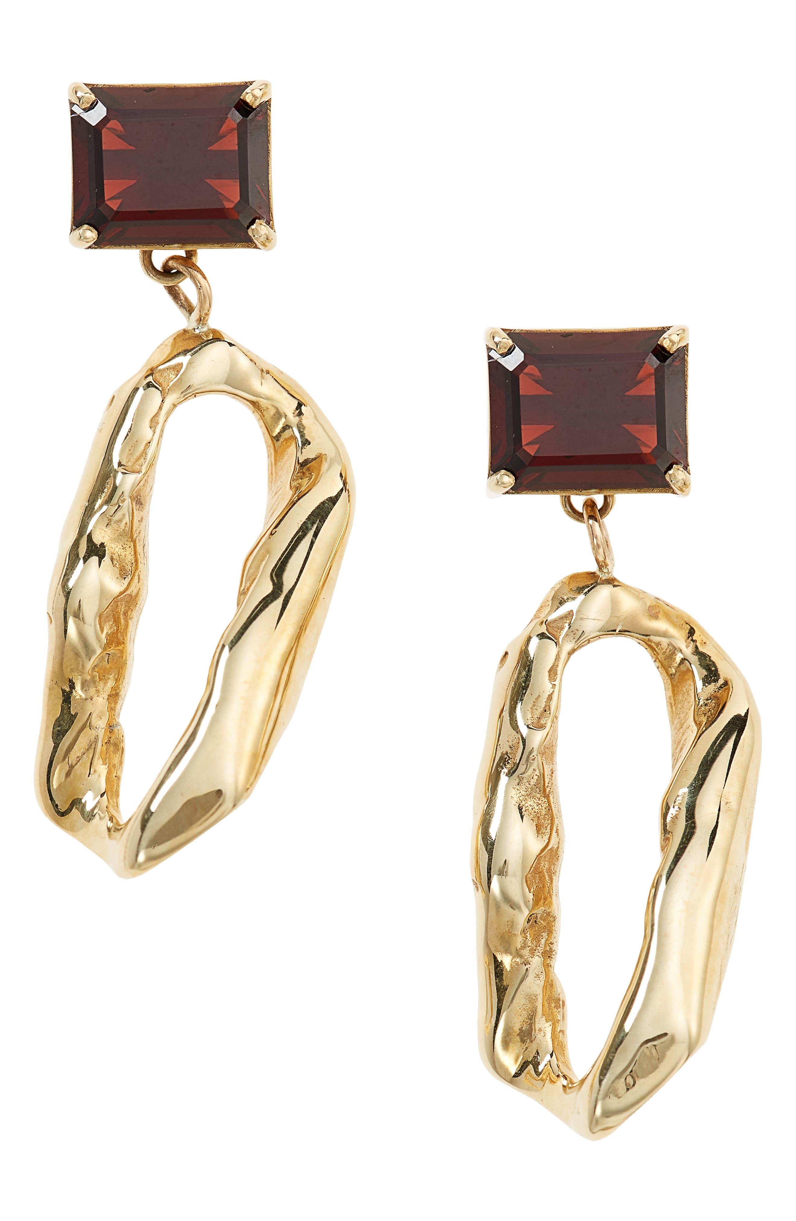 Terra Garnet Drop Earrings