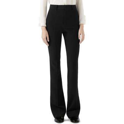 Gucci Stretch Cady Skinny Flare Pants, 8 IT - Black