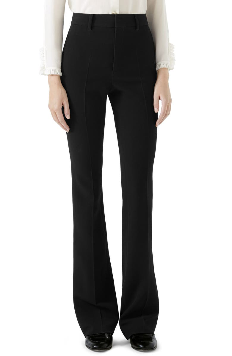 GUCCI Stretch Cady Skinny Flare Pants, Main, color, BLACK