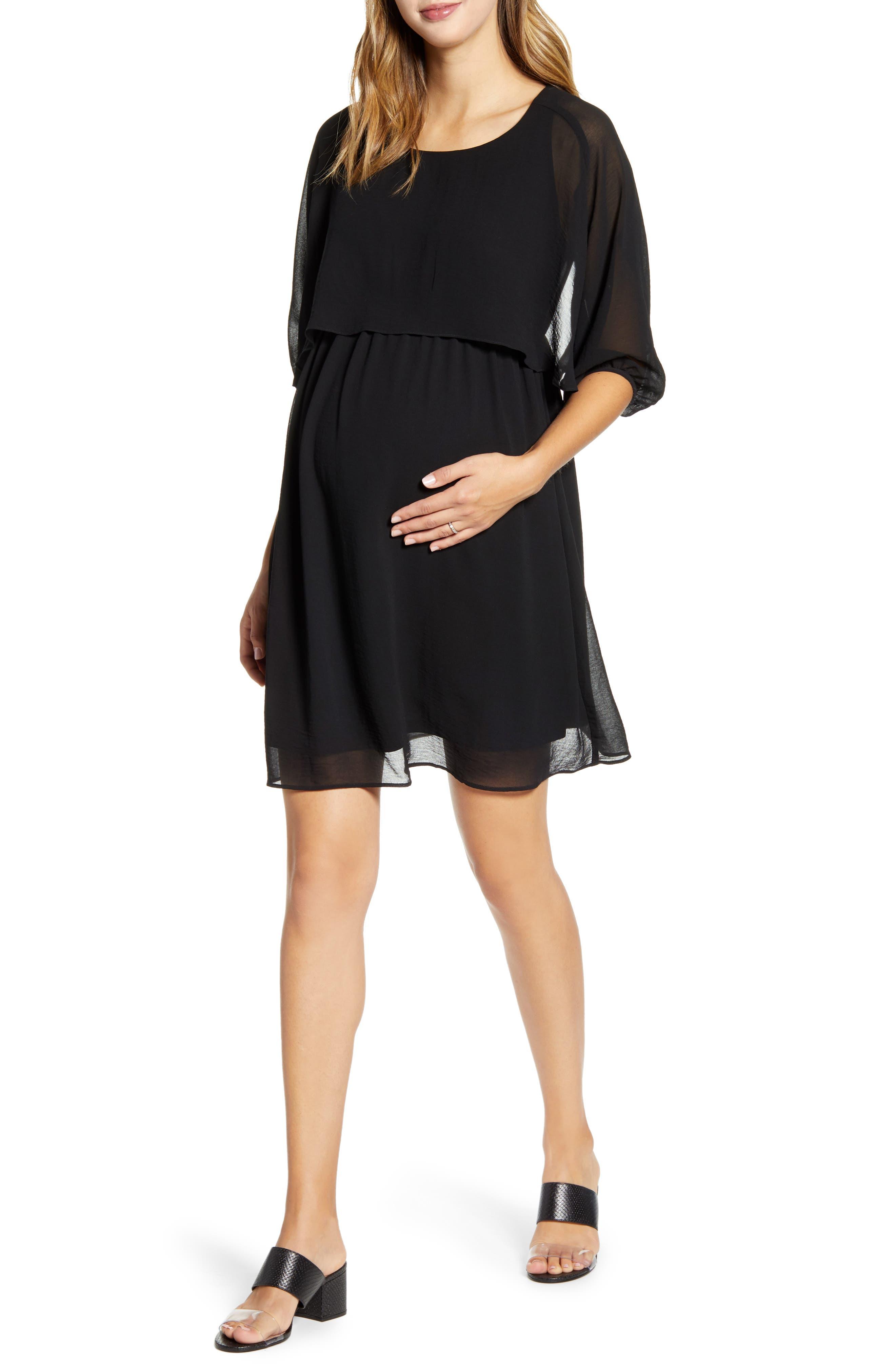 Ruffle Overlay Maternity/nursing Dress