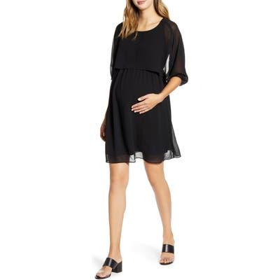 Maternal America Ruffle Overlay Maternity/nursing Dress