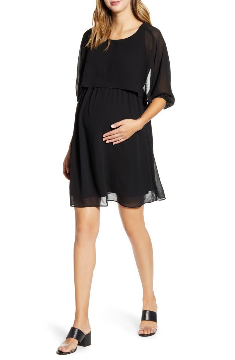 MATERNAL AMERICA Ruffle Overlay Maternity/Nursing Dress, Main, color, BLACK