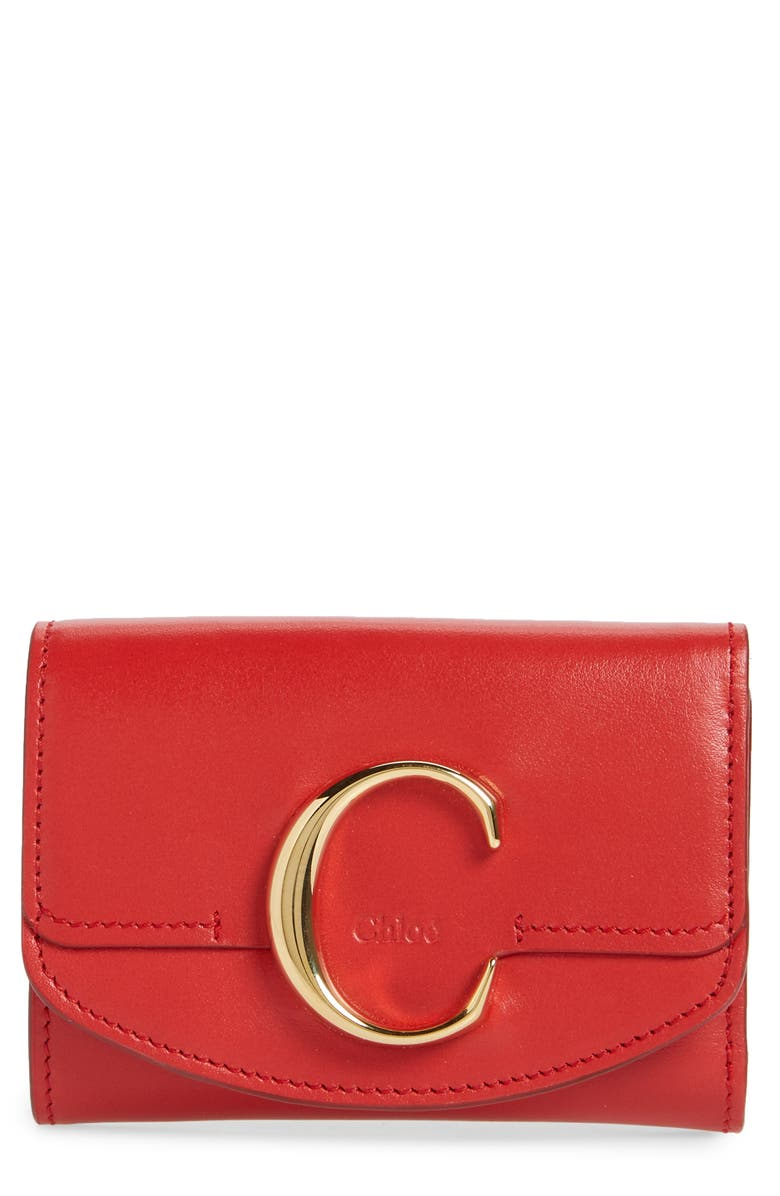 CHLOÉ Mini C Leather Wallet, Main, color, PLAID RED