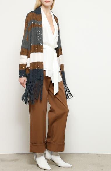 Fringe Trim Sequin Stripe Wool & Silk Cardigan, video thumbnail