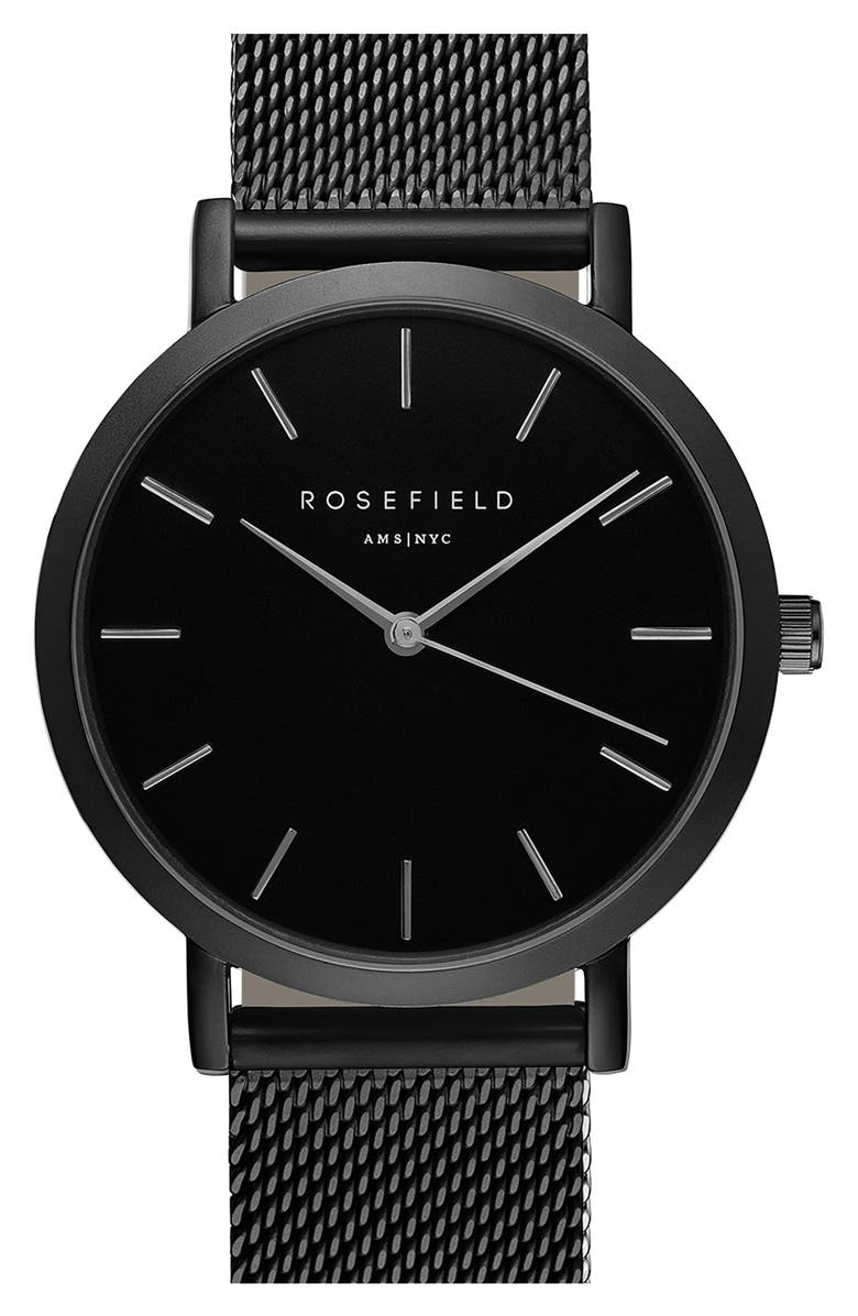 ROSEFIELD Mercer Mesh Strap Watch, 38mm, Main, color, 001