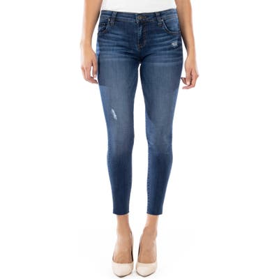 Kut From The Kloth Connie Distressed Raw Hem Ankle Skinny Jeans, Blue