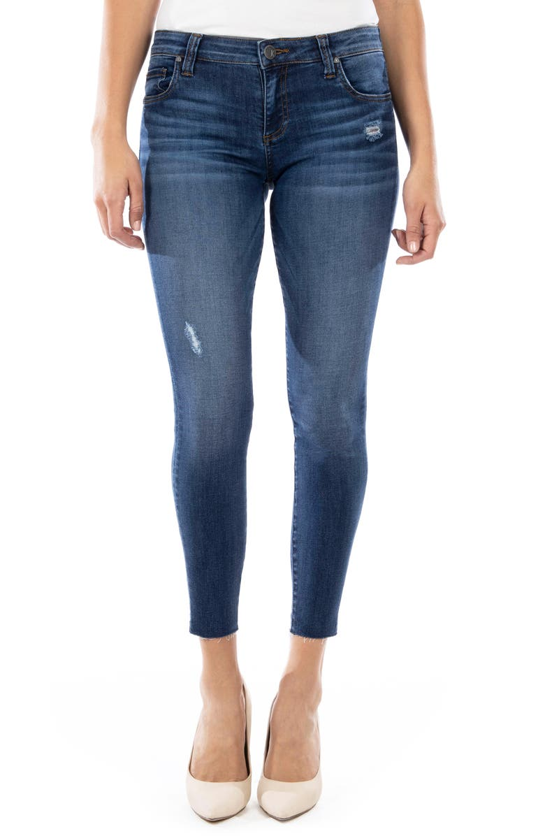 KUT FROM THE KLOTH Connie Distressed Raw Hem Ankle Skinny Jeans, Main, color, EXPRESSION