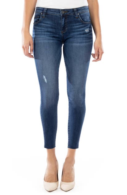 Kut From The Kloth Jeans CONNIE DISTRESSED RAW HEM ANKLE SKINNY JEANS