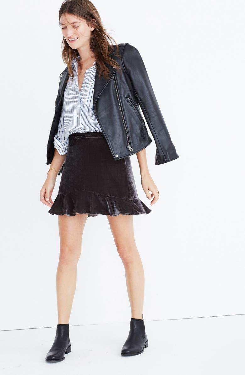 95f553d47 Madewell Ruffle Edge Velvet Skirt | Nordstrom