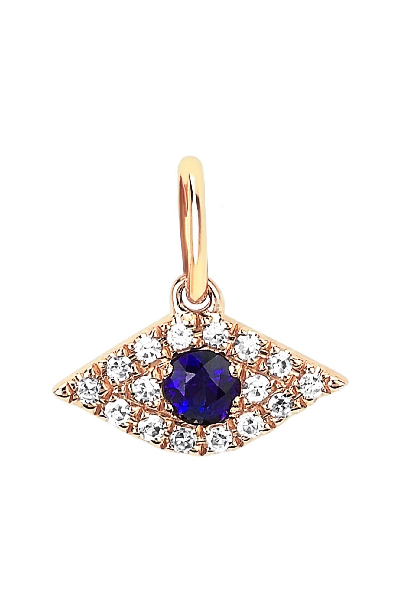 Sapphire & Diamond Evil Eye Charm
