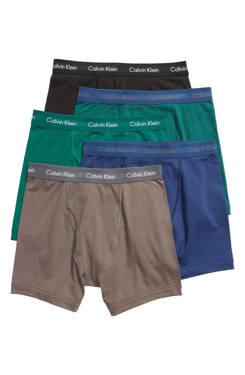 CALVIN KLEIN 5-Pack Boxer Briefs, Main, color, EVERGREEN/ BLACK/ GREY/ BLUE