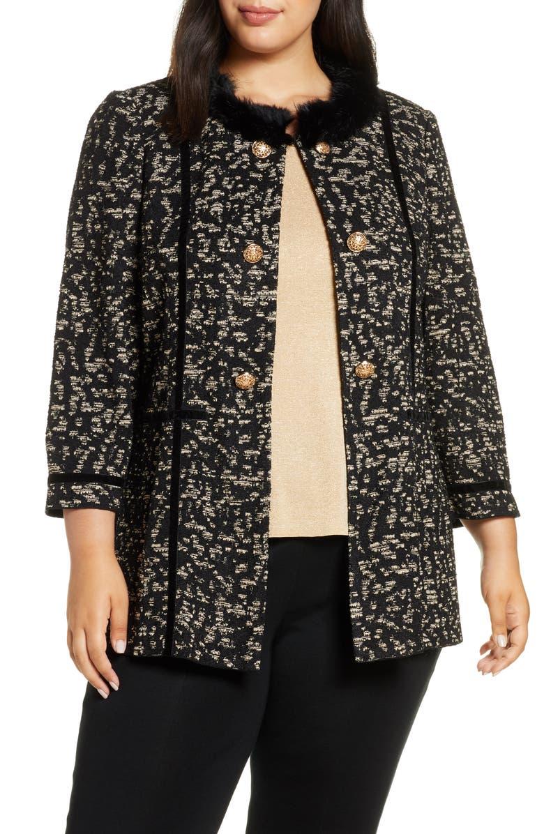 MING WANG Faux Fur Trim Jacket, Main, color, GOLD/ BLACK