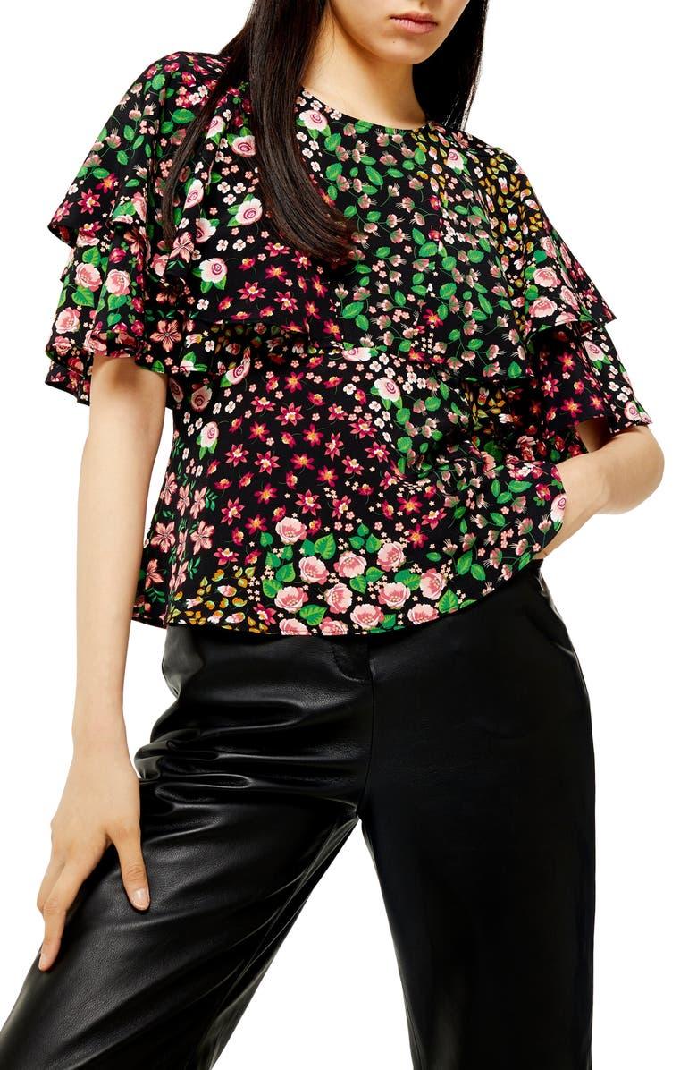 TOPSHOP Austin Patch Floral Tea Top, Main, color, BLACK MULTI