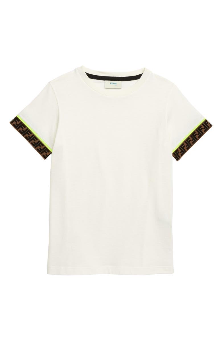 FENDI Logo Trim T-Shirt, Main, color, WHITE