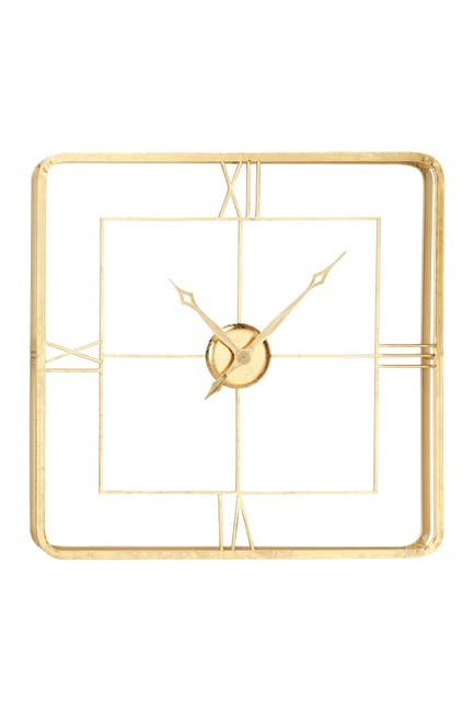 "Image of Willow Row Extra Large Square Gold Wall Clock with Roman Numerals - 35.5"" x 35.5"""