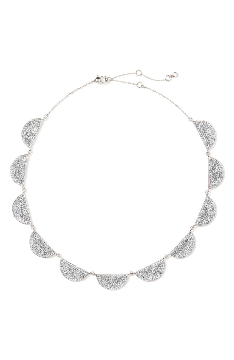 KATE SPADE NEW YORK mod scallop pavé necklace, Main, color, CLEAR