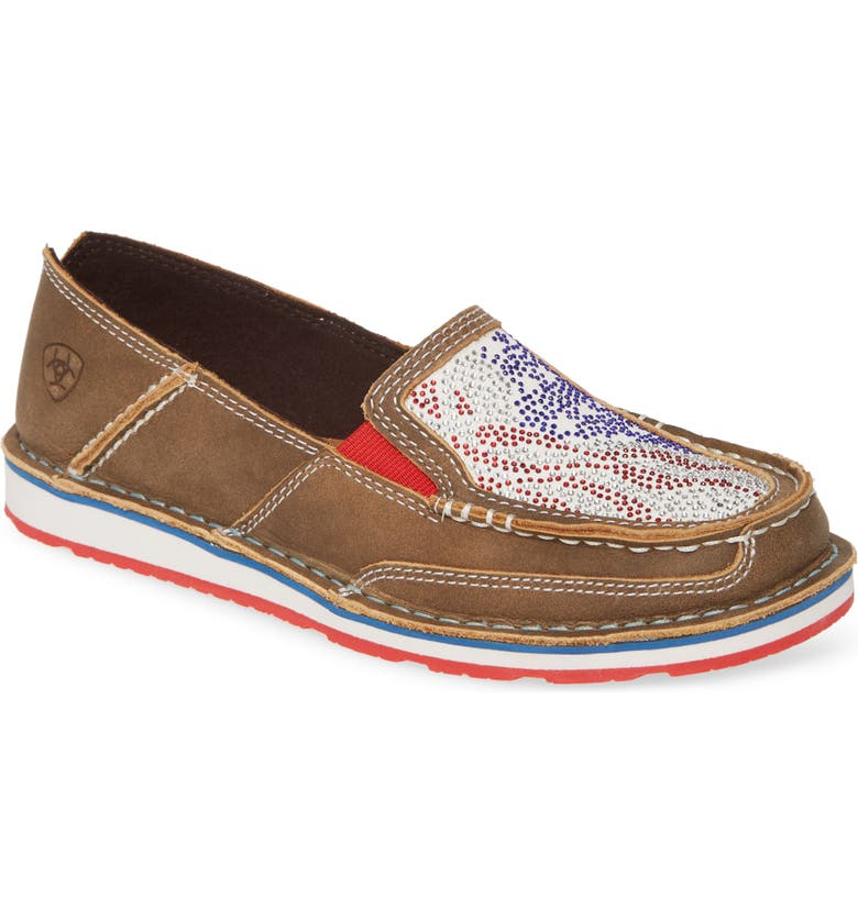 ARIAT Cruiser Slip-On Loafer, Main, color, BROWN LEATHER/ STARS STRIPES