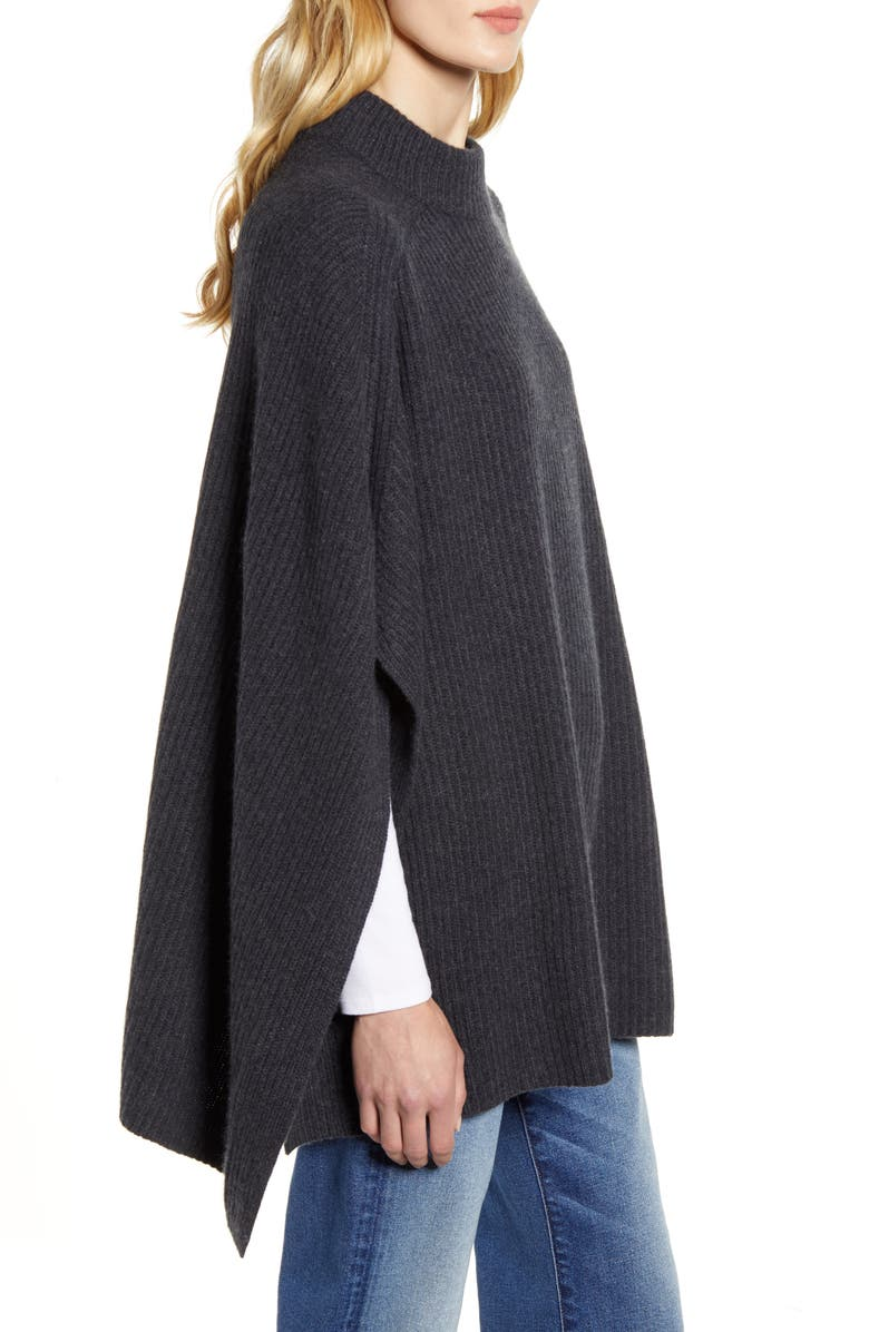 HALOGEN<SUP>®</SUP> Rib Cashmere Poncho, Alternate, color, GREY CHARCOAL HEATHER