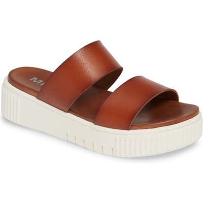 Mia Lexi Platform Slide Sandal- Brown