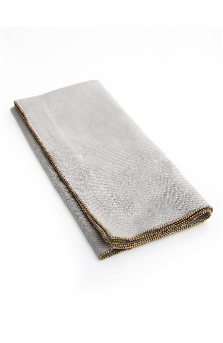 MICHAEL ARAM Set of 4 Beaded Linen Napkins, Main, color, SALT