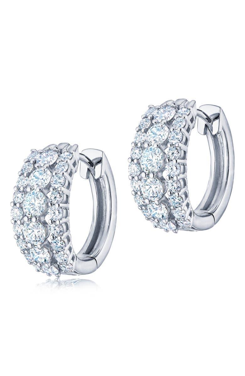KWIAT Eclipse Triple Row Diamond Huggie Earrings, Main, color, WHITE GOLD