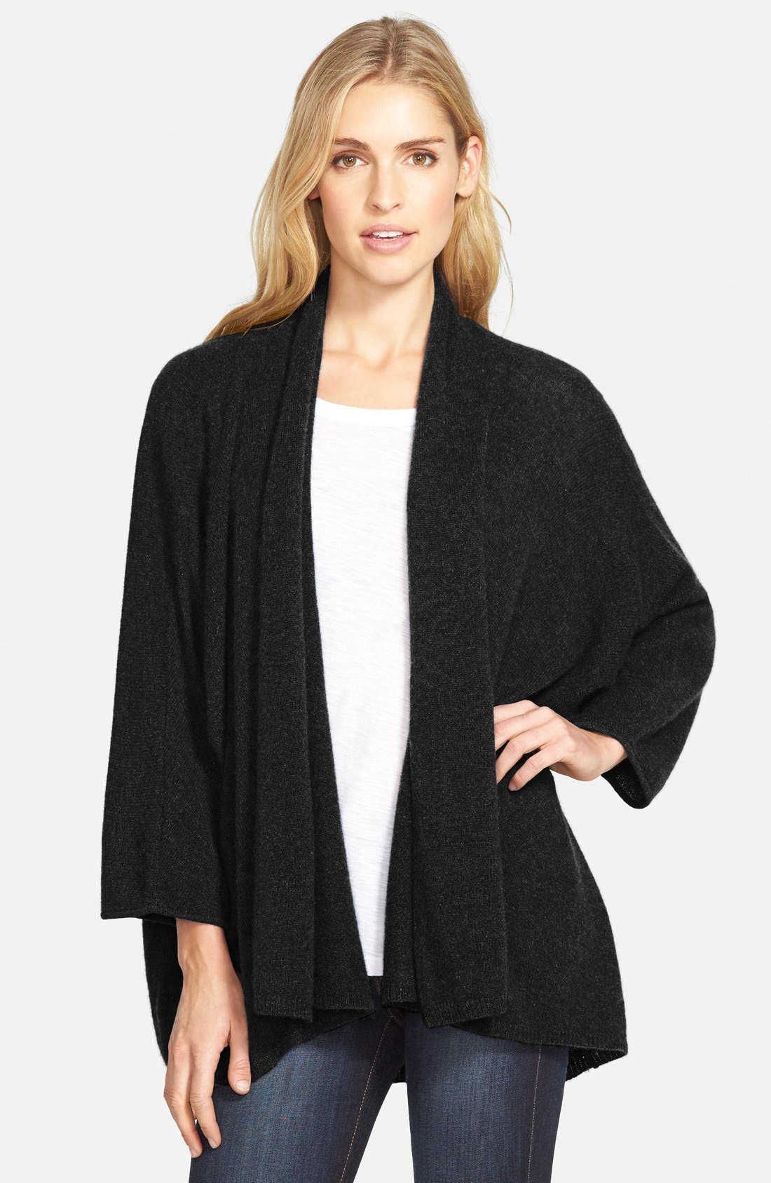 ,                             Open Front Cashmere Cardigan,                             Main thumbnail 1, color,                             001